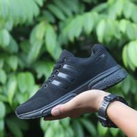 Sepatu Adidas Running Pria /Lari Gym Fitness Olahraga Full Black