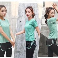 Setelan Baju Olahraga Wanita 2in1 Set Kaos dan Legging Yoga Zumba Gym