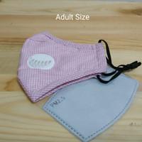 Masker PM 2.5 White Valve Adult Size + 1 Filter - Motif Kotak Pink