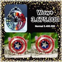 Paket Kalung Pendant Marvel Captain America + Pendant Spiderman