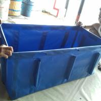 terpal kolam ukr 1.5x80x50cm +tempat rangka pipa bahan PVC semi karet