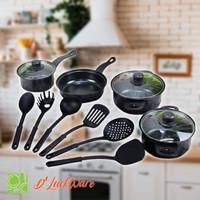 Set Panci isi 13 Pcs D'LuckWare / Cookware Set Penggorengan Teflon