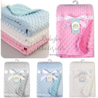 selimut bayi double fleece polos / baby blanket carter