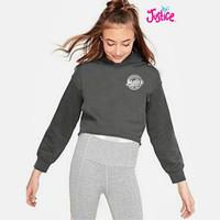 Baju anak sweater hoodie branded Justice grey logo 10 T