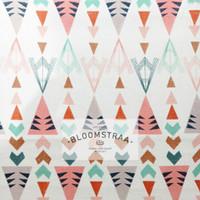 Kain Kanvas Indiana Pastel canvas bahan geometric triball ethnic soft
