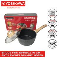 Wajan Panci Sauce Pan YOSHIKAWA Marble Ceramic 16CM 16 CM +Lid MJ-1207