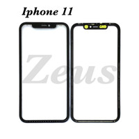 GLASS 3in1 - KACA TOUCHSCREEN LEM OCA DAN FRAME FOR IPHONE 11 - Hitam