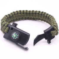 Shaojia Gelang Kompas Pisau Outdoor Survival Bracelet - HJT41