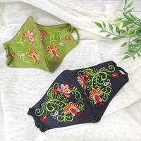 Masker Fashion Stylish motif Bunga Bordir