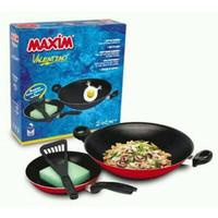 Maxim V**entino 2Pcs Set Wok 30 Cm Dan Frypan 22 Cm + Spatula Plastik