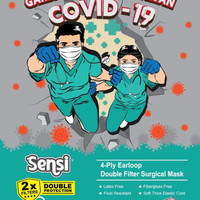 MASKER SENSI 4PLY EARLOOP SURGICAL DOUBLE PROTECTION