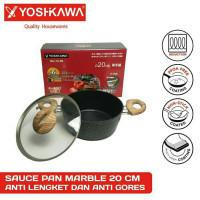 YOSHIKAWA Panci / Wajan Marble Tumis Tutup Kaca 20 CM 20CM MJ1209