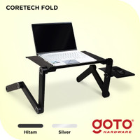 Coretech Fold Meja Laptop Lipat Aluminium With Cooler Big Fan Mousepad