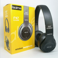 P47 REALME BLACK Headphone Wireless Portable Bluetooth Headset Bass