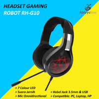 Headset Robot Gaming RH-G10 7 Colour LED Headphone Laptop - PC - HP