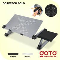 Coretech Fold Meja Laptop Lipat Aluminium With Cooler Big Fan Mousepad