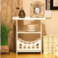 Meja Minimalis Putih Meja Bar Rak Majalah Sudut Meja Kayu Mini