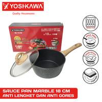 Wajan Panci Sauce Pan YOSHIKAWA Marble Ceramic 18CM 18 CM +Lid MJ-1208