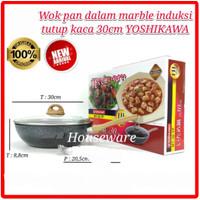 Wajan Panci Fry Wok YOSHIKAWA Marble Ceramic 30CM 30 CM + Lid MT-30-TP