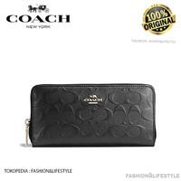 Coach Long Wallet Accordion Embossed Signature Leather Black Original