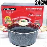 YOSHIKAWA Panci / Wajan Marble Tumis Tutup Kaca 24 CM 24CM MJ1210