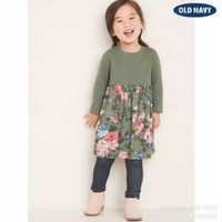 Baju anak dress branded Old Navy green flowers 3 T