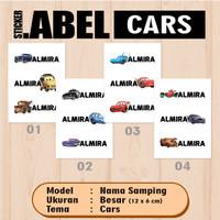 ISI LEBIH BANYAK Sticker Label Nama Bawah Karakter Cars Waterproof