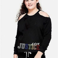 Baju anak sweater hoodie branded Justice black glitter logo 6-7 T