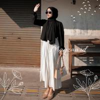 rok plisket premium putih mayzaa.id / Rok plisket murah / Rok panjang