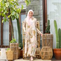 Aminah dress PEACH PASTEL gaun retsleting two-D gamis - M