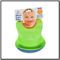 Babyloo Celemek Makan Bayi Silicon 2 Pcs - Biru/Hijau