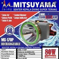 Senter Kepala Mitsuyama MS-170 80W Waterproof Headlamp Diving 80 Watt