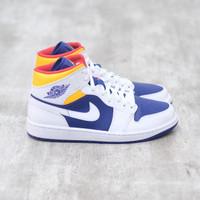 Air Jordan 1 Mid Royal Blue Laser Orange 100% Authentic