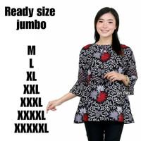 TERMURAH batik wanita modern batik atasan jumbo 3xl 4xll 5xl batik - Abu-abu, XXXXXL