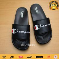 Sandal Slop Pria Wanita Champion-Karet-Hitam-Tulis