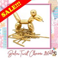 SALE!!! Balon Twist Pentil Magic Chrome Emas Gold 260 pack isi 100