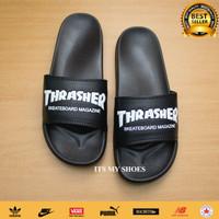Sandal Slop Pria Wanita Thrasher Skate X Nike-Karet-Hitam Putih