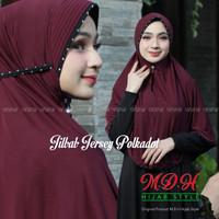 bergo hijab jilbab tali kerudung instan jersey pake pet - Maroon