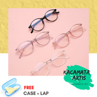 Frame kacamata Lituno pria wanita - free lensa minus / silinder