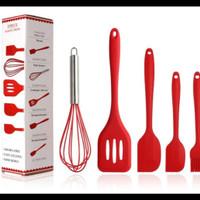 Spatula Set 5 Pcs Merah | Silicone Kitchen Utensil | Sutil BPA FREE