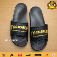 Sandal Slop Pria Wanita Thrasher Skate X Nike-Karet-Hitam Gold