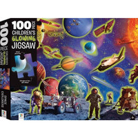 100 pieces Children Glowing Jigsaw Space Explorer. Mainan Edukasi Anak