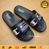 Sandal Slop Pria Wanita Champion-Karet-Hitam-Logo
