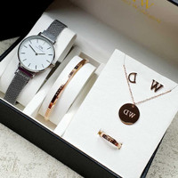 Jam Tangan Wanita Fashion WD FullSet Kalung Cincin Anting Gelang