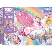 100 pieces Children's Sparkly Jigsaw Unicorn Kingdom. Mainan Anak