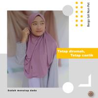 Bergo Maryam Khimar jersey tali non pet Jilbab Instan Kerudung antem - blush