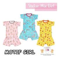 LIBBY 1 Set Baju Bayi (9-24 M) / Oblong dan Celana Pendek Motif Girl - M 12-18 bulan