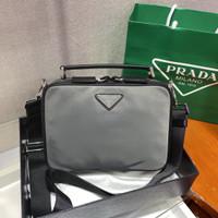 prada Brique Saffiano Leather Men Cross Body Bag Counter Quality