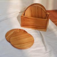 Coaster Kayu Set Isi 6 dengan Dock