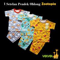 VELVET JUNIOR 1 Set Baju Pendek Oblong Zootopia (3-6 M) / Baju Bayi